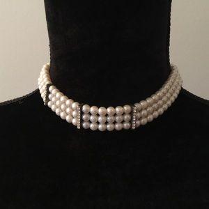 Jewelry - Two faux pearl/rhinestone chokers NWOT